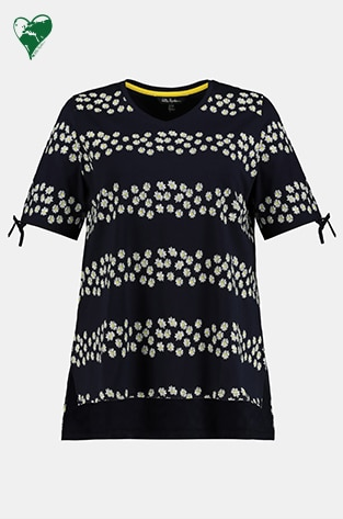 Organic cotton shirt with floral stripes