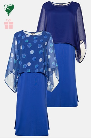 Reversible slinky dress with 2 ponchos