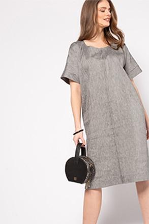 Leinenstrech-Kleid, Oversized