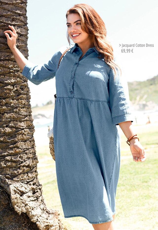 JuPin Dot Jacquard Cotton Dressrk