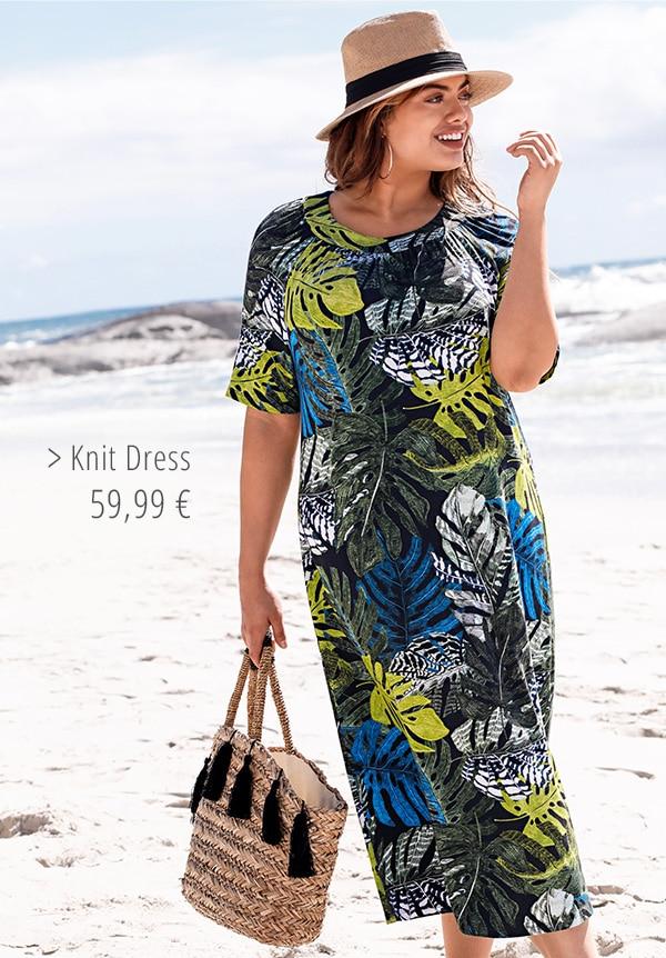 Leaf Print Knit Dress
