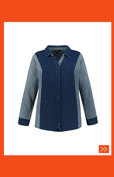 Jeansbluse, Patchlook