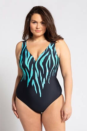 Badeanzug, farbiges Zebramuster