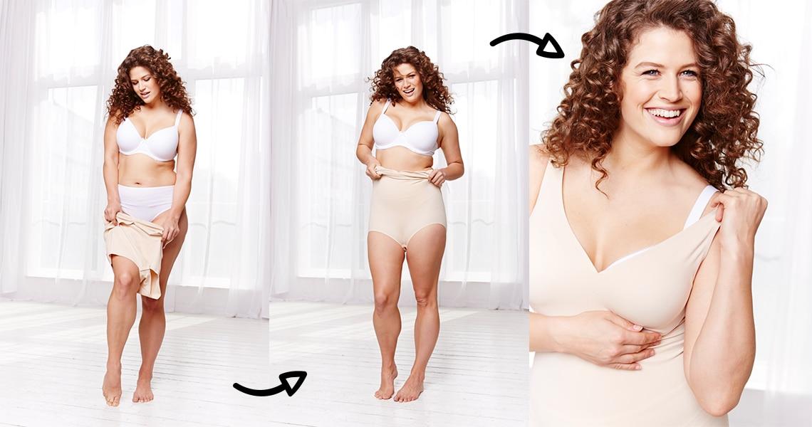 Collage einer Frau die Shapewear anzieht