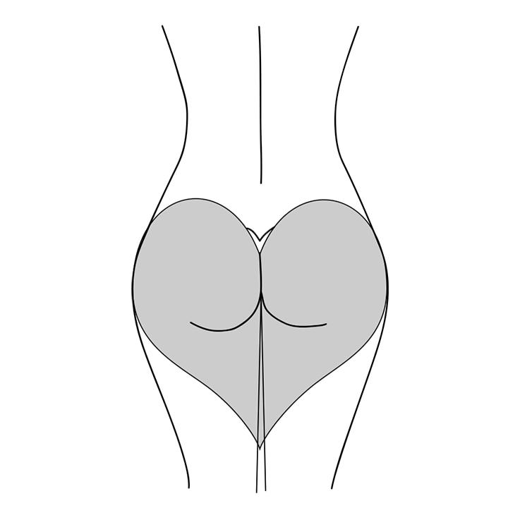 Illustration einer herzförmigen Po-Form