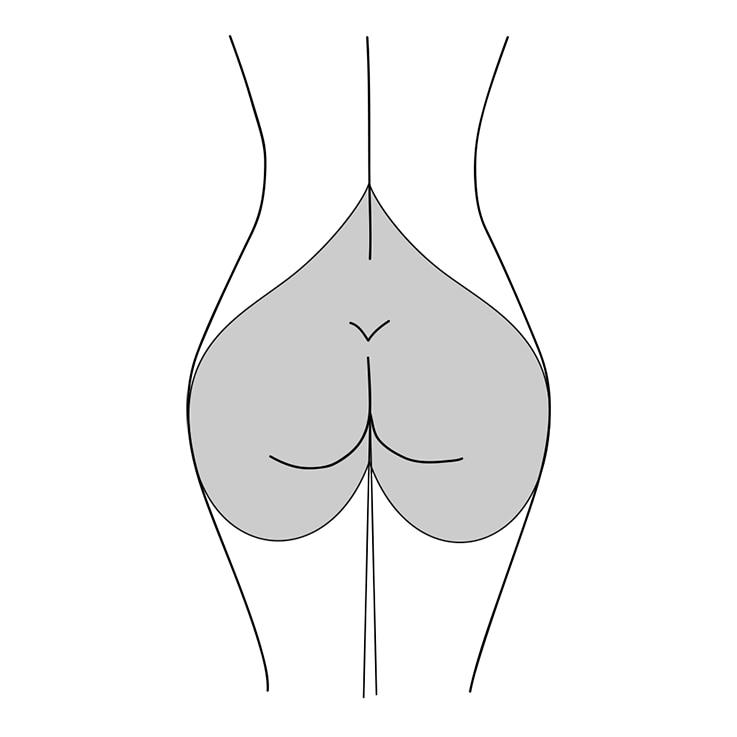 Illustration einer birnenförmigen Po-Form