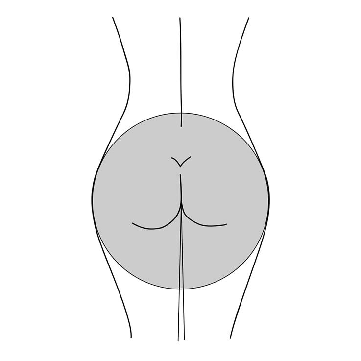 Illustration einer runden Po-Form