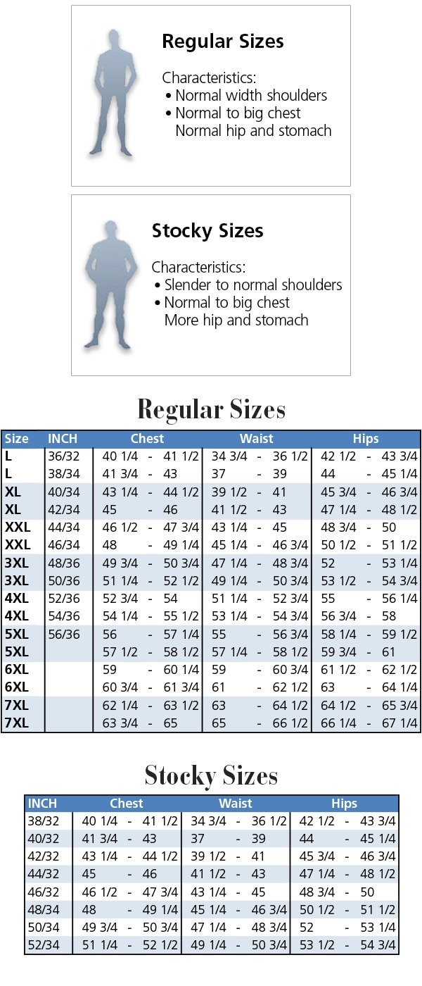 Size Chart for plus size Men´s fashion