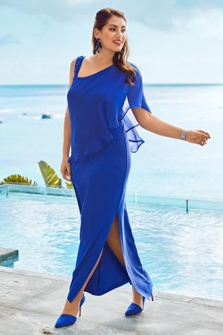 Blaues Abiballkleid mit transparenten Details