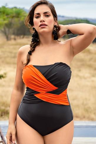 Badeanzug mit zweifarbiger Drapierung