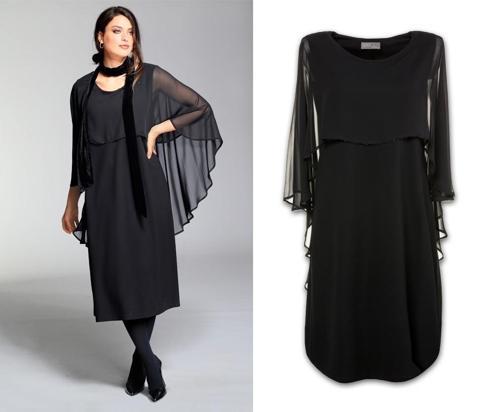 Kleid in eleganter Optik mit Chiffon-Überwurf