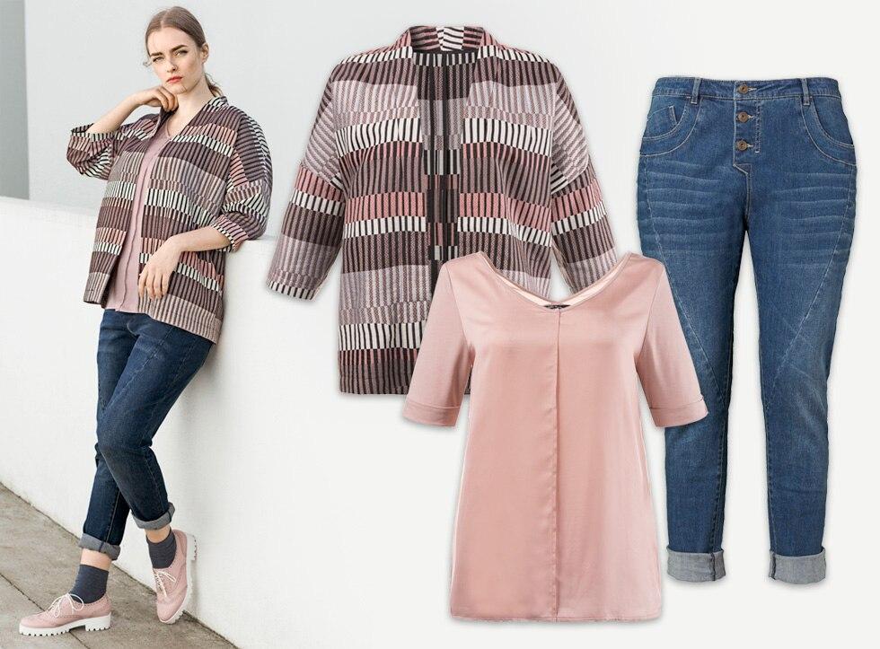Blazer im eleganten Web- und Streifenmuster, dazu tragen wir ein leicht fallendes Shirt und bequeme Jeans