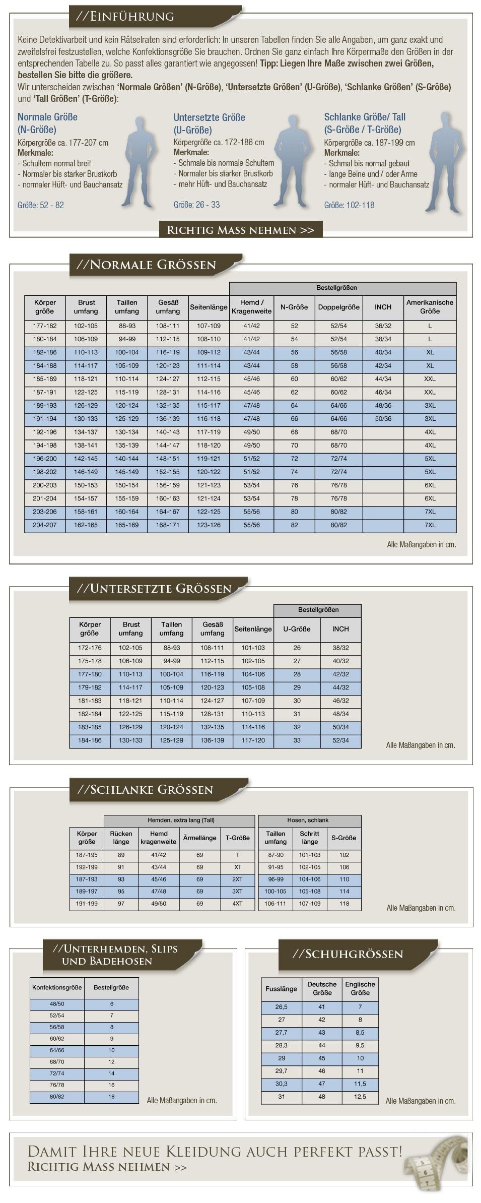 100% Qualität Kauf authentisch Stufen von Größentabelle für große Größen | JP1880