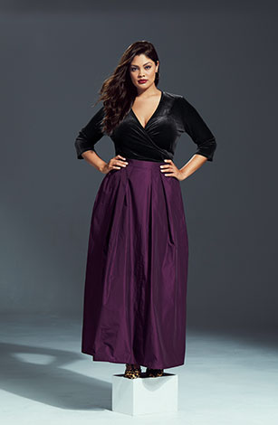 Two Tone Taffeta Lined Maxi Skirt