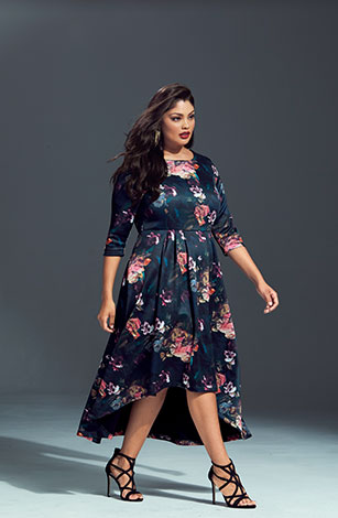 Floral Print Hi-Low Hem Stretch Knit Dress