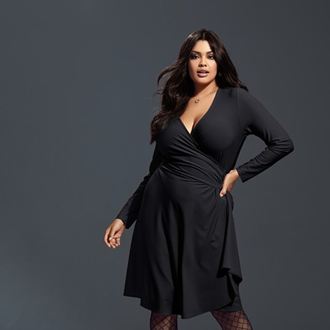 The Essential Solid Stretch Knit Wrap Dress