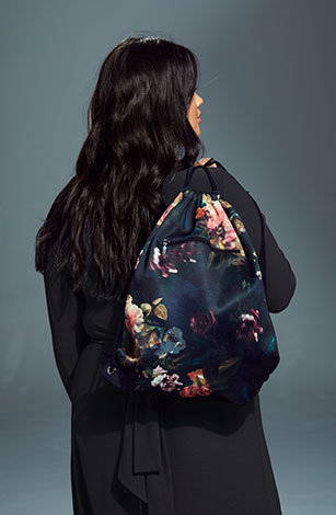 Black Floral Drawstring Bag