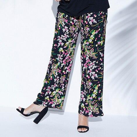 Wiskozowe spodnie w nadrukowany wzór