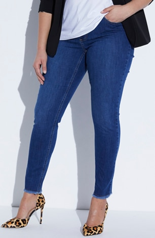 Fringe Hem Stretch Denim Skinny Jeans
