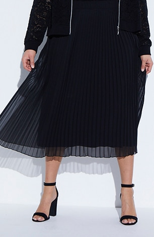 Chiffon Pleated Elastic Waist Lined Maxi Skirt