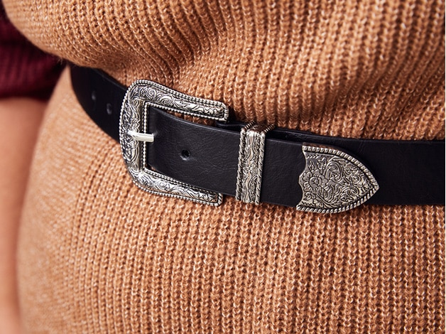 Cowboy-Gürtel, Leder-Optik, Schließe/Spitze verziert
