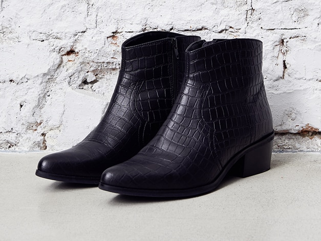 ankle boots, crocodile print leather, inner zipper