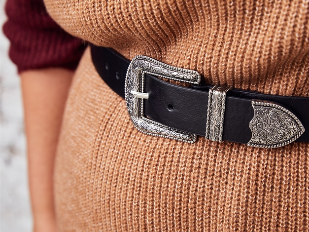 cowboy belt, leather look, decorated tip and buckle